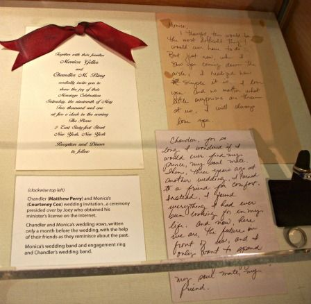 Monica and Chandler's wedding invites, plus their written vows and wedding rings.