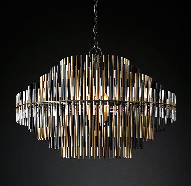 Rh S Emile Chandelier 32 34 Ascending And Descending Concentric Spires Comprise The Profile Of Our C Round Chandelier Ceiling Lights Round Crystal Chandelier