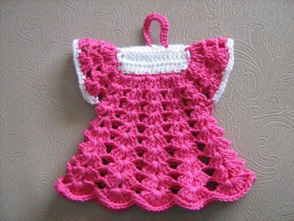 58d00228b PEGADOR DE PANELAS VESTIDINHO | Crochet - Pegas | Agarraderas a ...