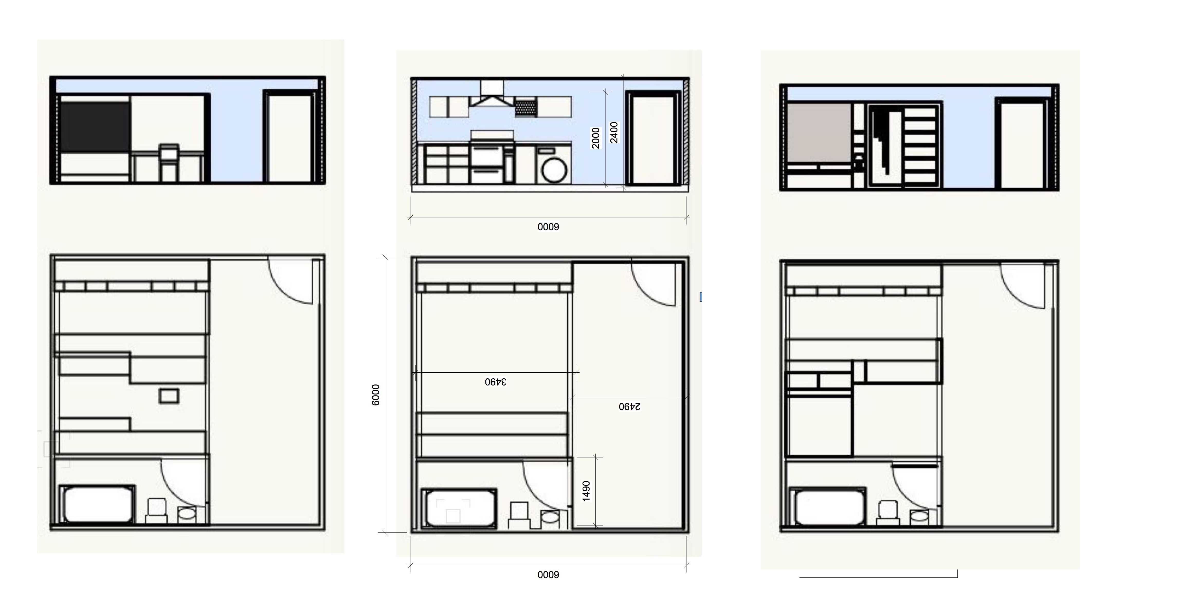"""First scale plans and sections of moving cabinets containing the """"flip-out"""" furniture. 1:50"""