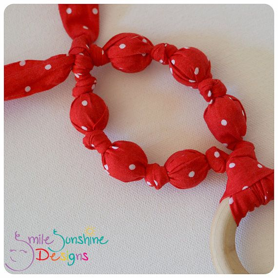 Wooden Ring Teething and Chewing Sensory Toy Smile Sunshine Designs WAHM Chew Beads