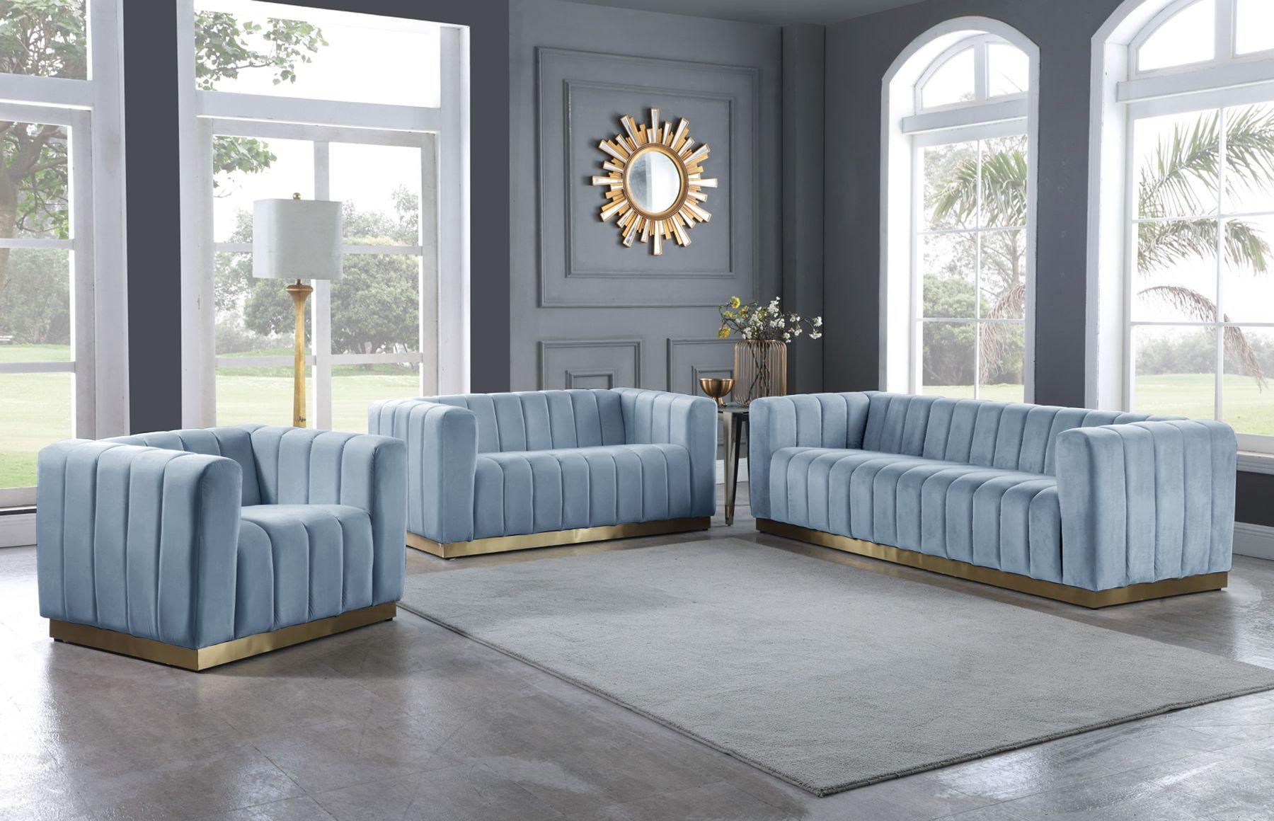 Marlon Blue Sofa 603 Meridian Furniture Fabric Sofas Blue Velvet Sofa Living Room Velvet Sofa Living Room Meridian Furniture