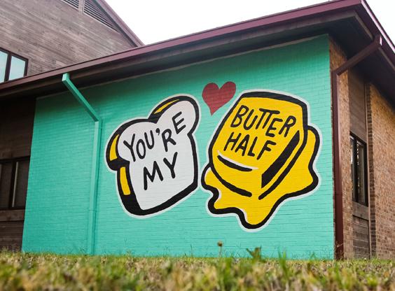 You Re My Butter Half Mural For United Way Austin Murals Art Destinations Art