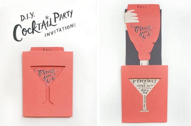 DIY creative cocktail party invitations Partylicious Pinterest