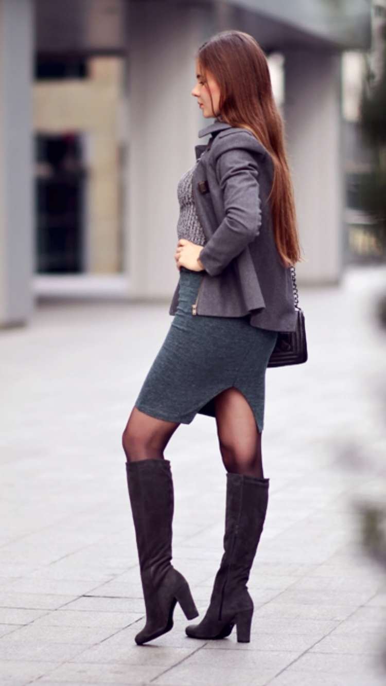 Gray Coat Golf Shirt Green Skirt And Gray Suede Boots As First Seen On Blog Help I Have Nothing To Wear Fashion Tights Fashion Clothes Women Trendy Skirts