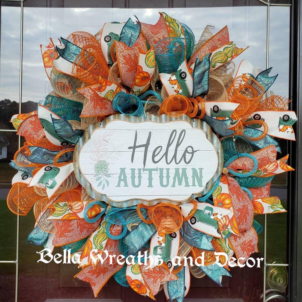 Hello Autumn / Fall wreath / Fall Truck Wreath / Happy Fall Wreath / Autumn welcome / Fall Mesh Wreath #helloautumn