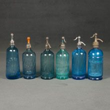French blue crystal siphon bottles
