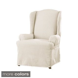 Sure Fit Ticking Stripe Wing Chair Slipcover (Rich Black) (Solid)  sc 1 st  Pinterest & Sure Fit Ticking Stripe Wing Chair Slipcover (Rich Black) (Solid ... islam-shia.org
