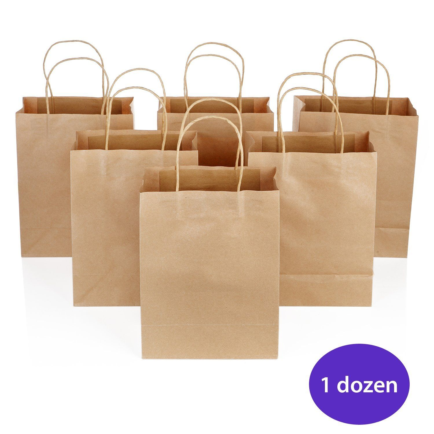 Brown Paper Bags with Handles -- Craft Bags -- 8.25 inches (12 pieces) -- Yazycraft ** Want additional info? Click on the image.
