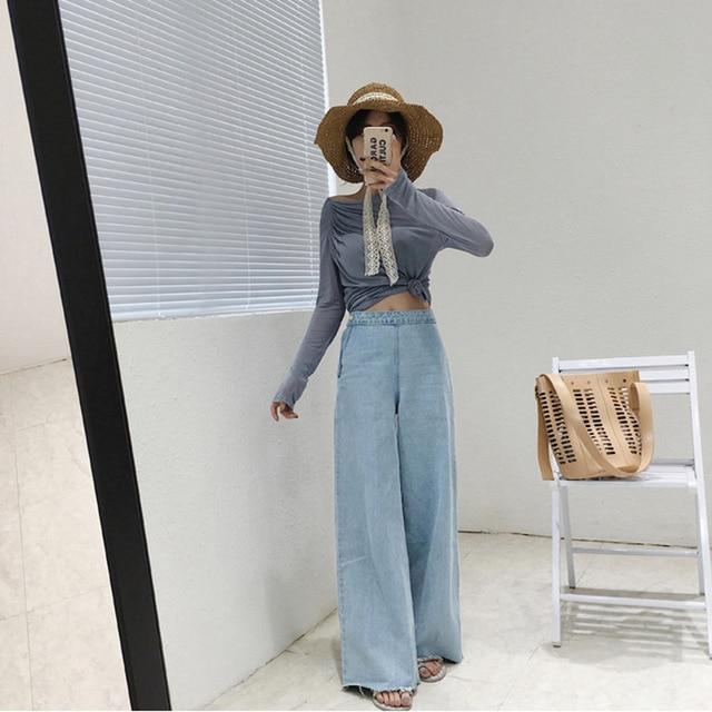 b545e009ee53f Women s New Fashion Street chic Vintage Loose Wide Leg Flare Jeans Pants  Spring Summer Fall Stylish Denim Trousers