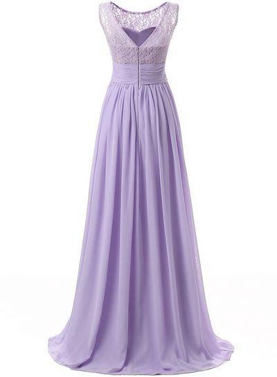 Women's Elegant Solid Sleeveless Lace Maxi Evening Chiffon Dress OASAP.com