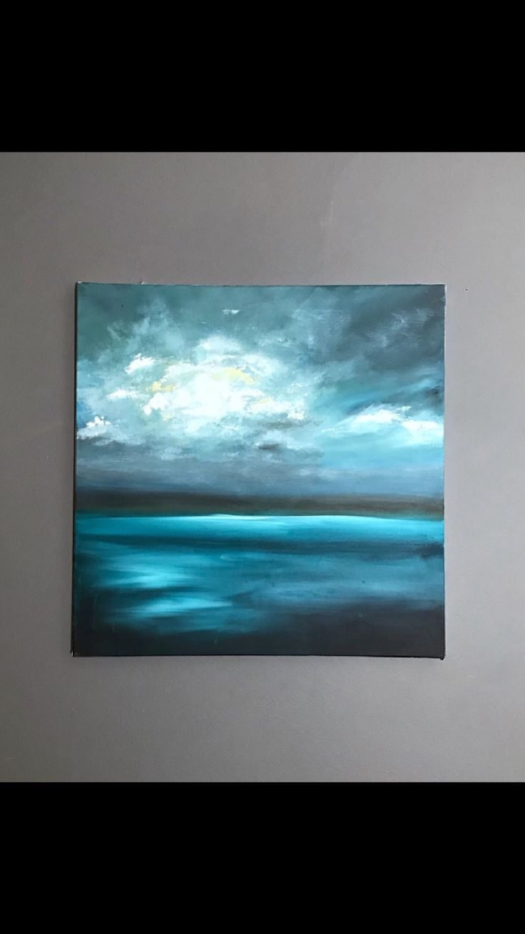 Abstract Seascape Clouds Acrylic On Canvas Abstract