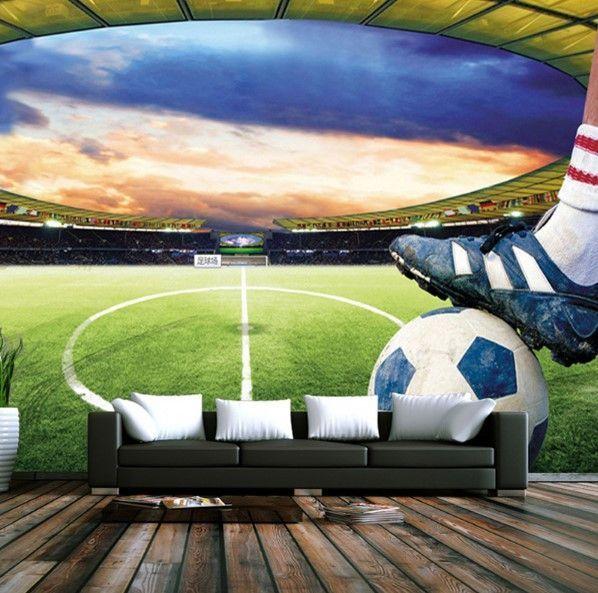 3d Soccer Field Custom Photo Wallpaper Sports Stadium Wall Mural
