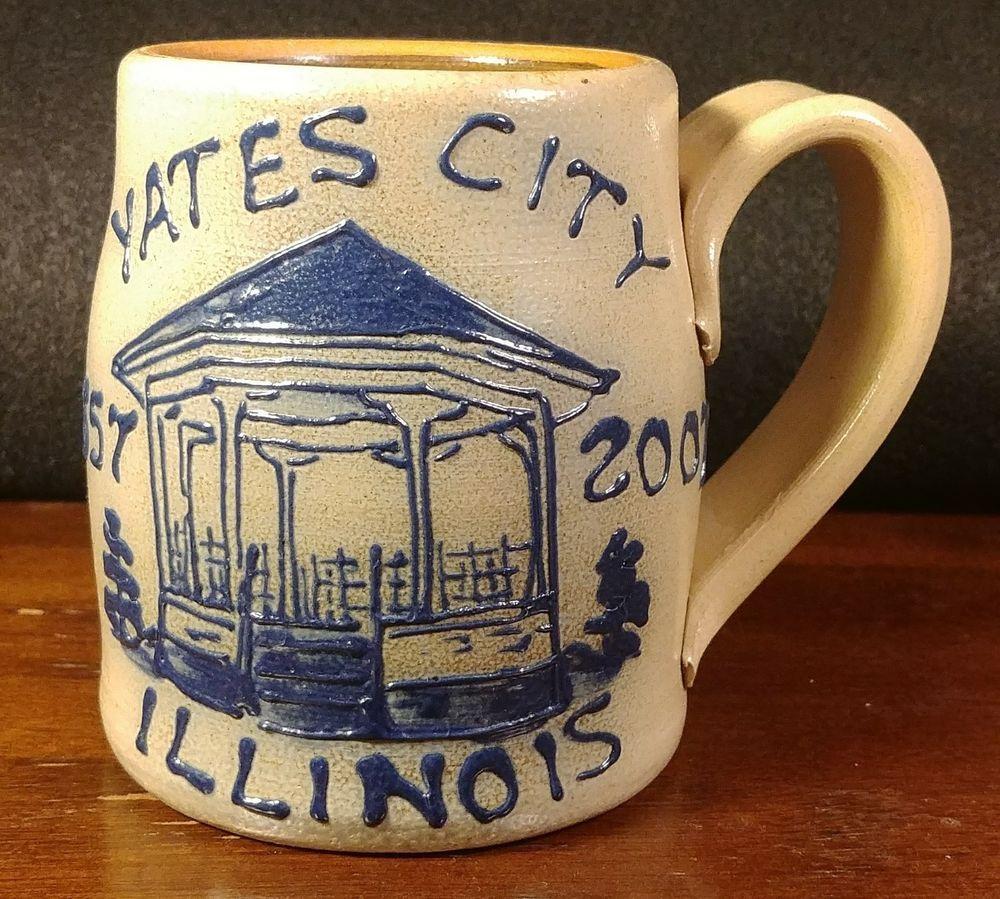 Maple City Pottery Blue Salt Glaze Mug Yates City Illinois