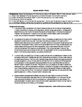 Salem Witch Trial Primary Source Activity Activitie Trials College Essay On