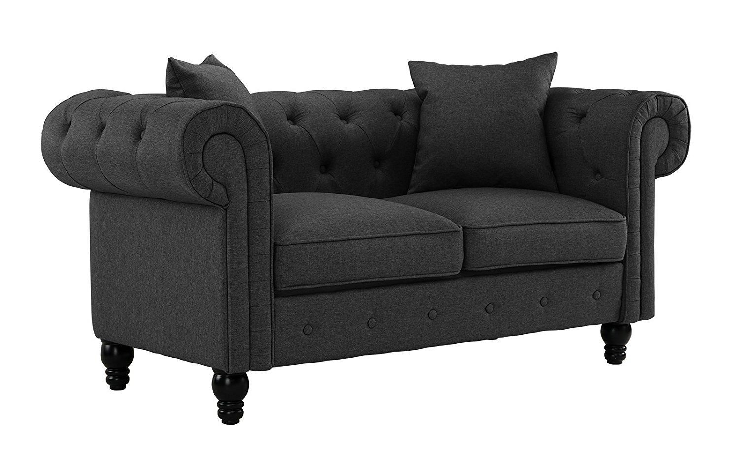 Amazon Com Divano Roma Furniture Classic Linen Fabric Scroll Arm Tufted Button Chesterfield Style Loveseat Couch Dark Couch And Loveseat Love Seat Furniture