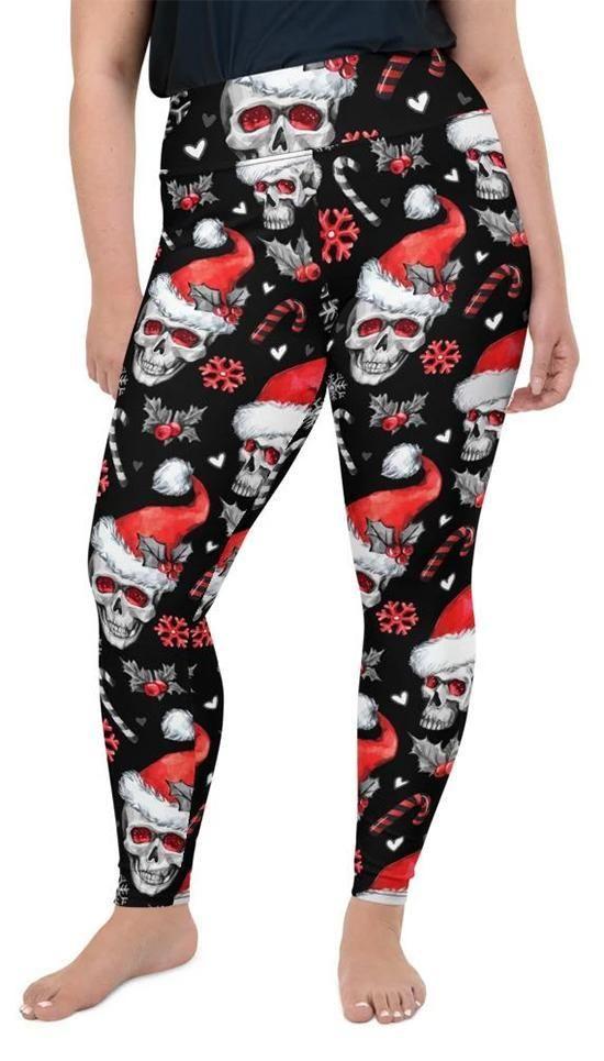 Photo of Christmassy Skulls Plus Size Leggings