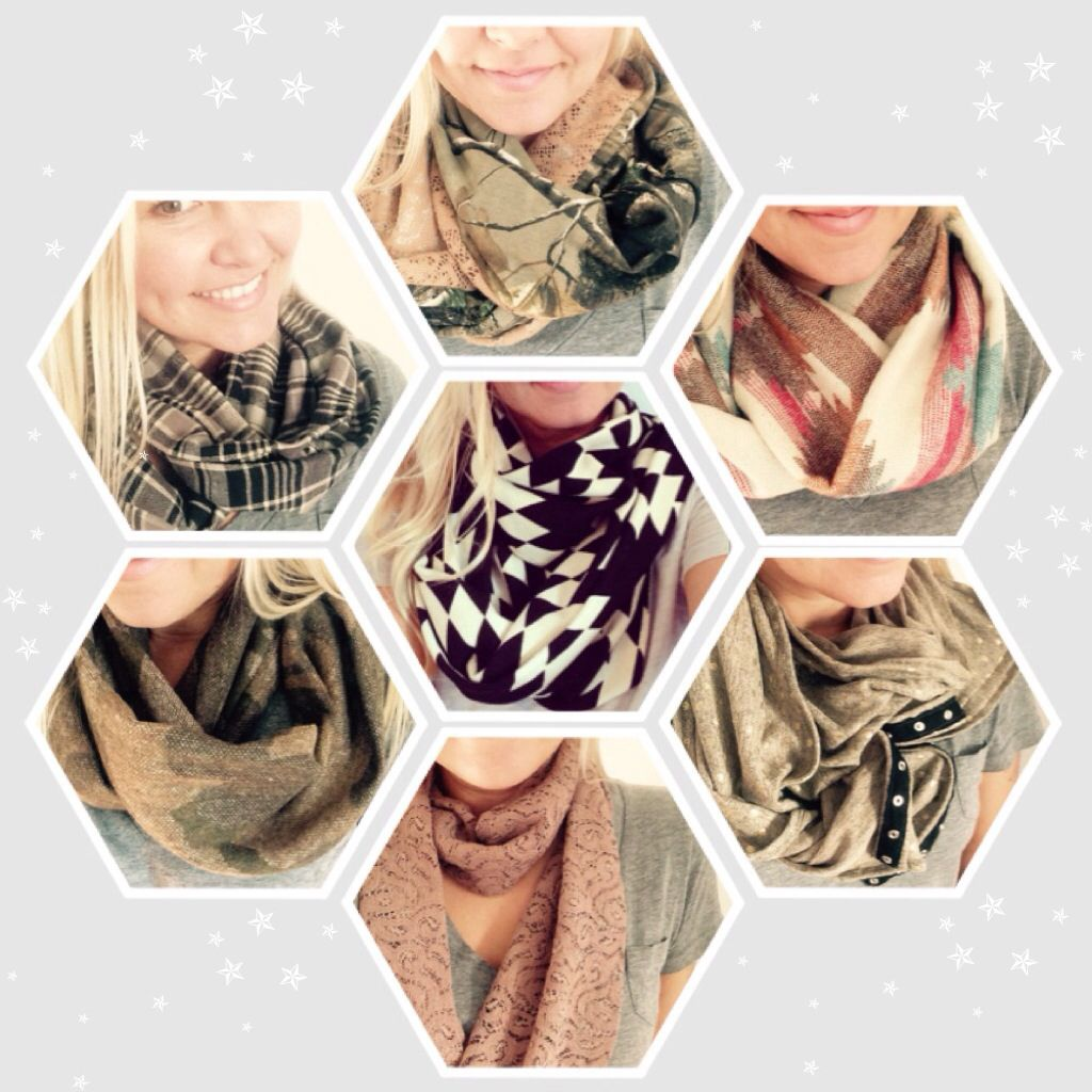 Handmade infinity scarfs, snap button scarfs, camo scarfs, lace scarfs and more. Perfect gift!
