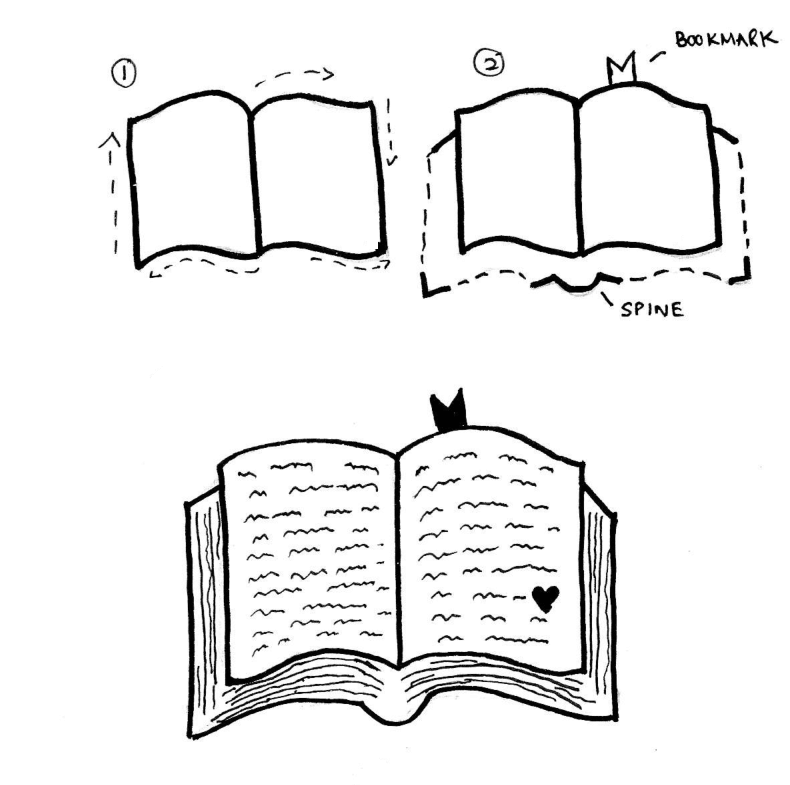 How To Draw A Book Easy Step By Step Tutorial You Ll Love Craftsonfire Open Book Drawing Easy Love Drawings Book Drawing