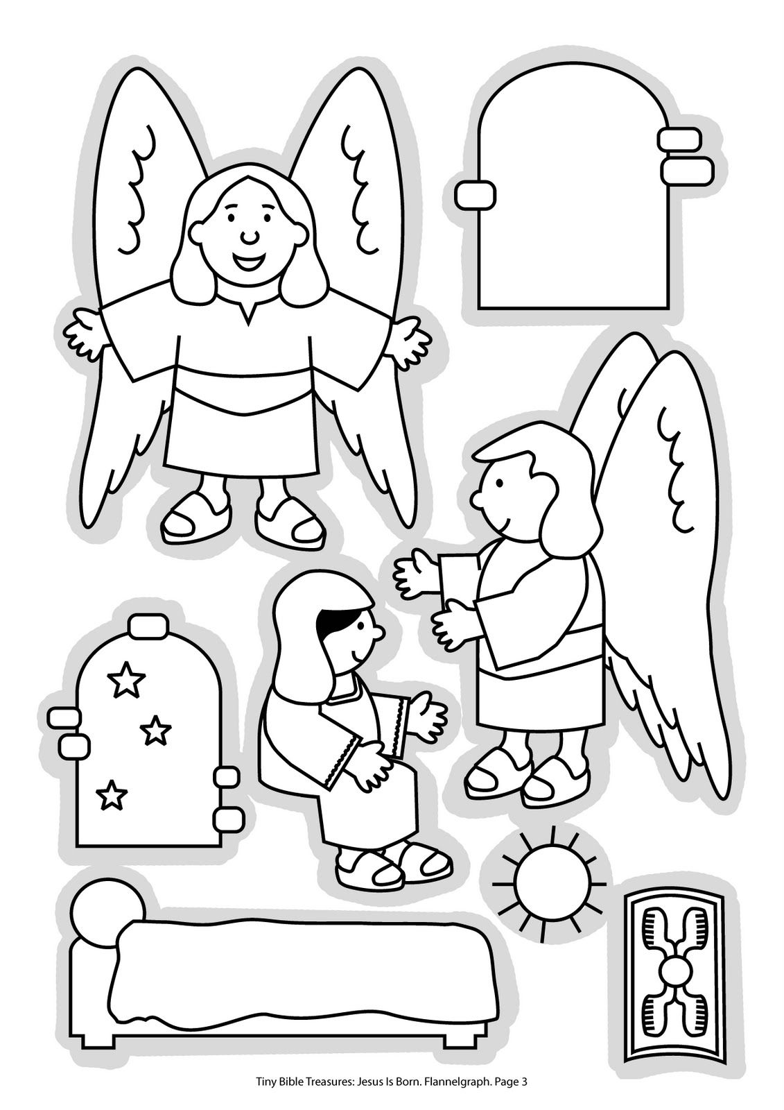 Jesus+is+born_flannelgraph_bw_Page_03.jpg (1131×1600) | Bible ...