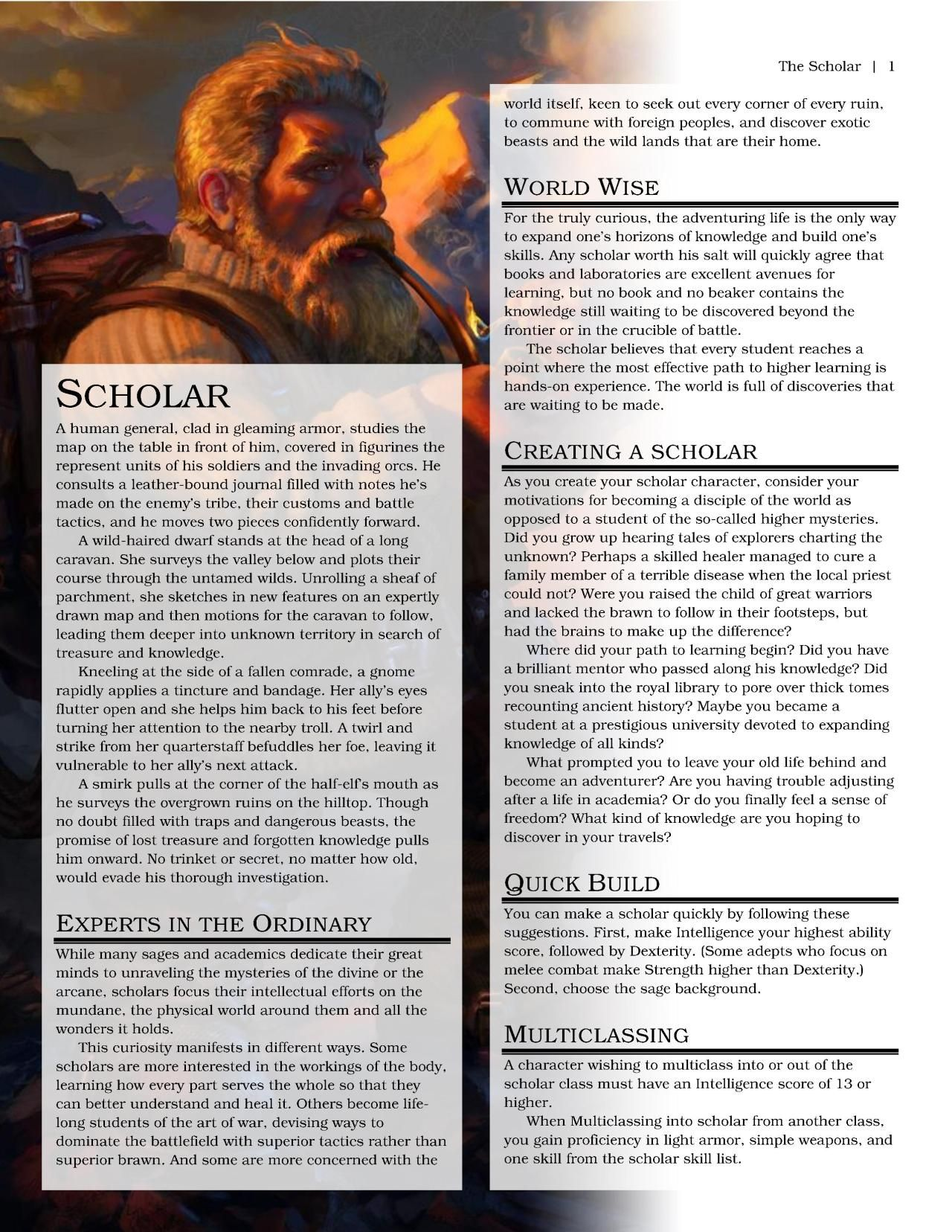 DnD 5e Homebrew — Scholar Class by wdalright | Characters in