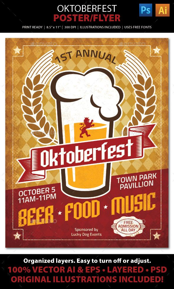 Oktoberfest Poster \/ Ad \/ Flyer Template Poster ads, Flyer - picnic flyer template
