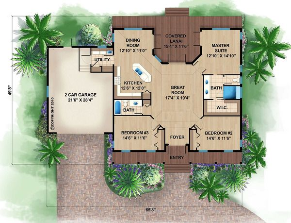 Beach Style House Plan 3 Beds 2 Baths 1697 Sq Ft Plan 27 481 Beach House Floor Plans Beach House Flooring Beach Style House Plans