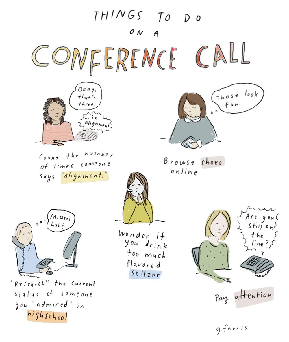 Things To Do On A Conference Call A Cup Of Jo Conference Call Conference Calling Quotes