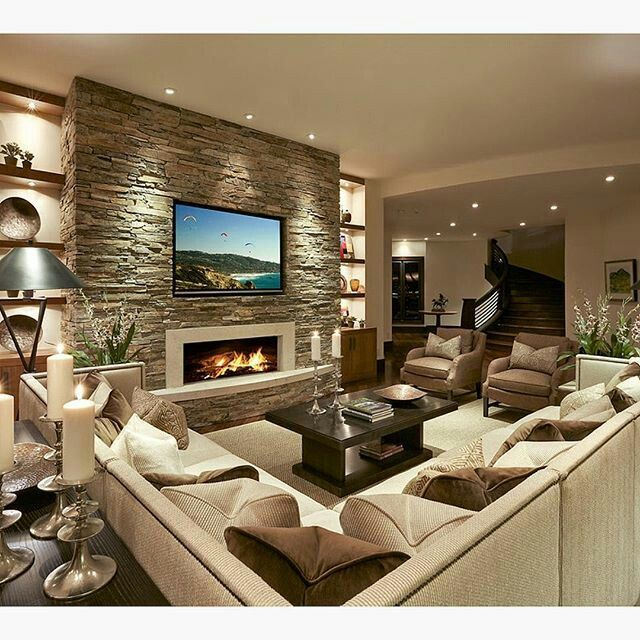 Pin By Bernie Pallissard On Home Living Room With Fireplace Contemporary Living Room Design Family Room Design