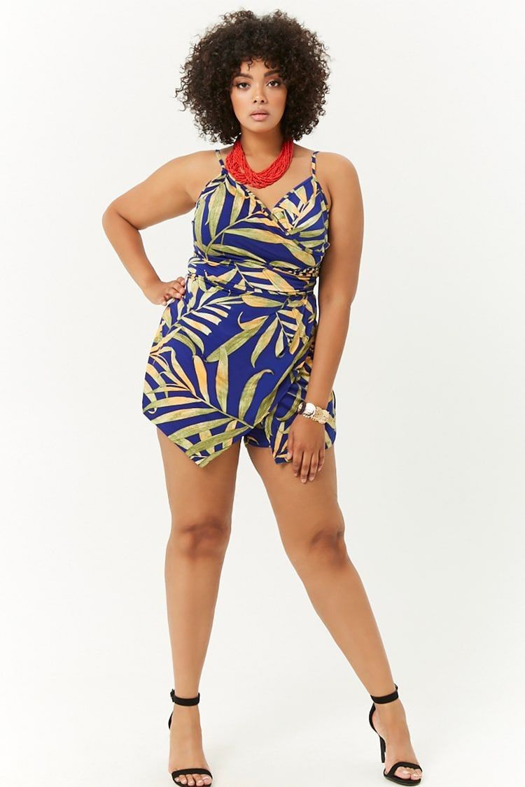 9fa574b4892 Plus Size Tropical Bodycon Romper - Rompers - Jumpsuits - All Clothing -  Clothing