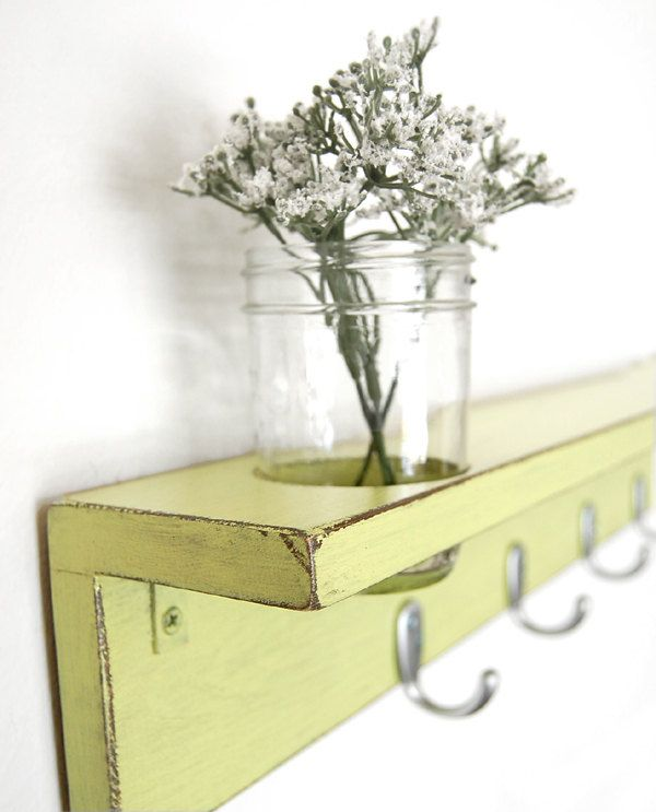 Coat Hanger shelf wood wall hooks mason jar - you choose color ...