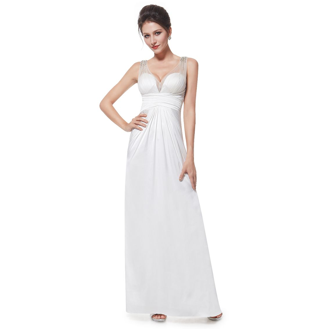 Ever Pretty Stunning Illusion Neckline Formal Wedding Evening Dress 08401