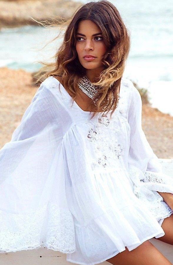 Estilos Las reinas de la playa en verano se visten de Boho Blanco