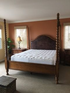 Handsome Ed Bauer By Lane Furniture Barley Sugar Four Poster Bed With Leather Padded Headboard And
