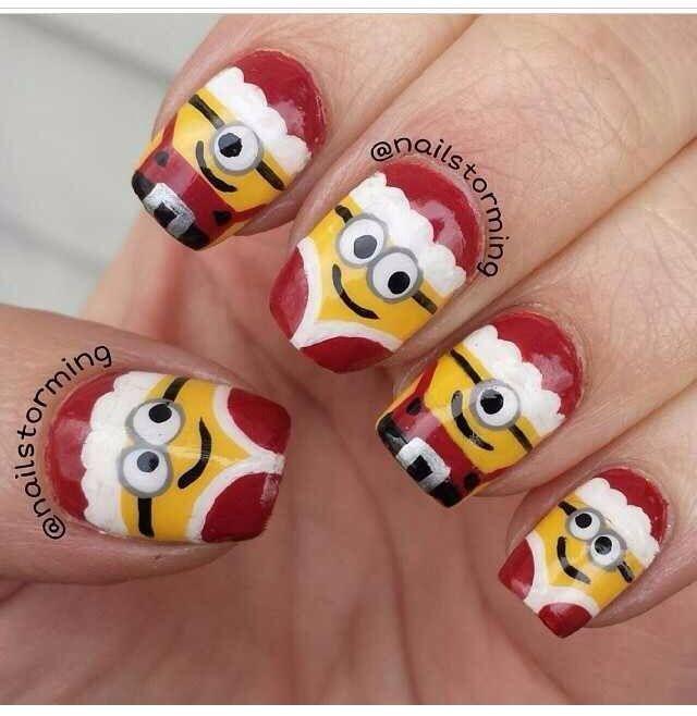 Holiday minions!! | Nails | Pinterest | Uñas navidad, Diseños de ...