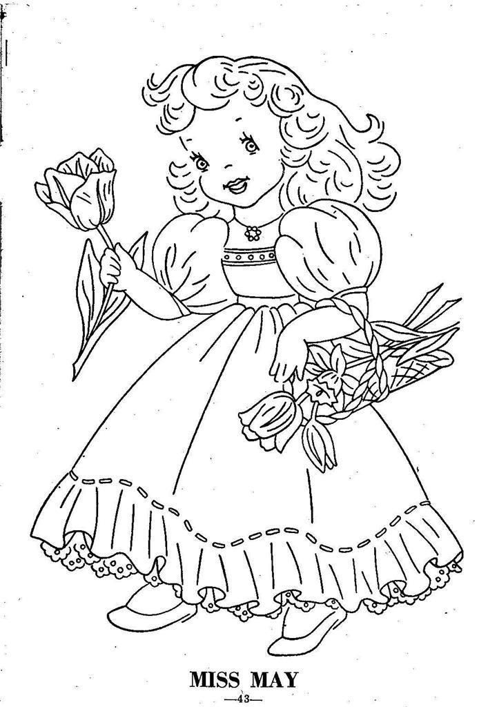 Hand Embroidery Pattern 12 Children of the Month for Quilt