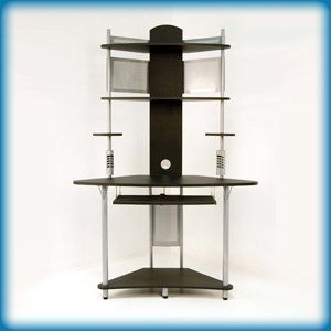 """Arch Tower in Silver and Black Finish by Studio Designs by Studio Designs. $244.94. 1 Lower Shelf: 34.5"""" x 17.5"""". Main Work Surface: 47.75"""" x 23"""". Overall Dimensions: 47.75"""" W x 24.75"""" D x 73.25"""" H. 2 Upper Shelves: 35"""" x 14.5"""". Slide Out Keyboard: 23.5"""" x 11.75"""". Overall Dimensions: 47.75 W x 24.75 D x 73.25 H Main Work Surface: 47.75 x 23 2 Upper Shelves: 35 x 14.5 1 Lower Shelf: 34.5 x 17.5 Slide Out Keyboard: 23.5 x 11.75 2 Speakers Stands 2 CD Storage with 3 Sl..."""