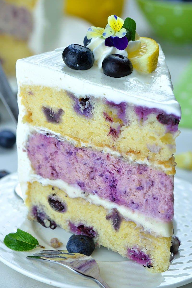 Zitronen-Blaubeer-Käsekuchen-Kuchen #simplecheesecakerecipe