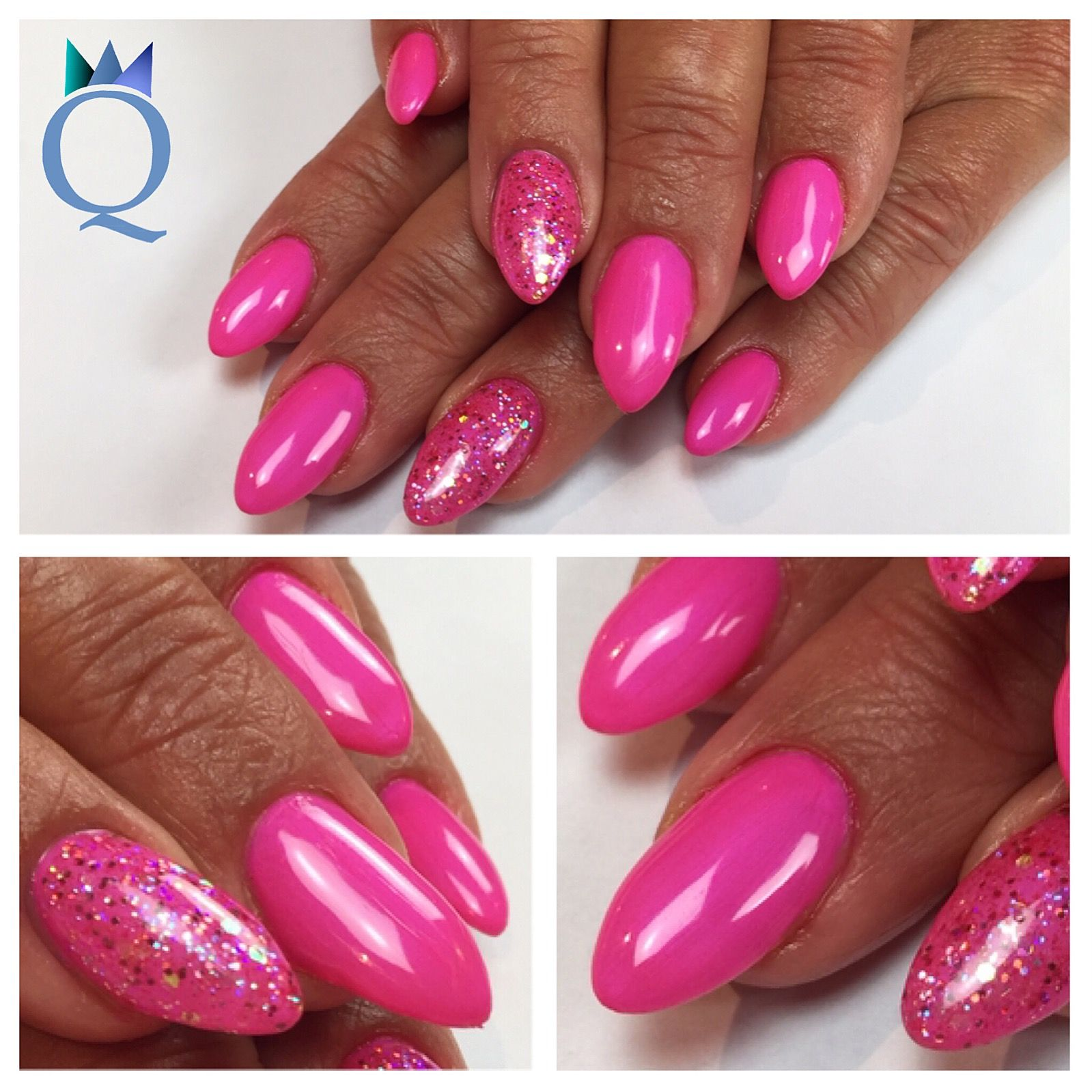 almondnails gelnails nails pink glitter akz ntz. Black Bedroom Furniture Sets. Home Design Ideas