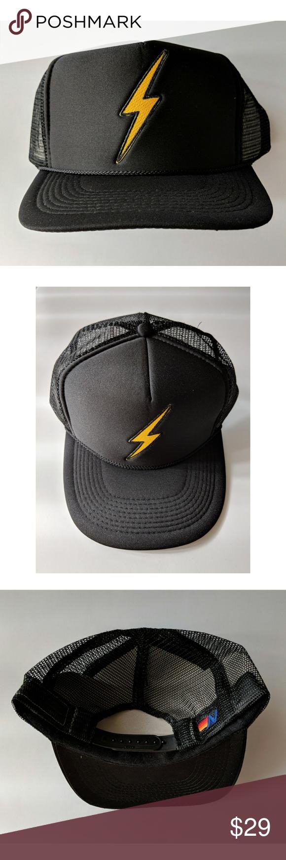 692168ed0bd Aviator Nation Vintage Trucker Hat - New Aviator Nation Vintage Bold Trucker  Hat - Size O S - New Black trucker hat with gold   yellow lightning bolt ...