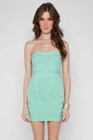 Banded Strapless Dress in Mint $68 at www.tobi.com