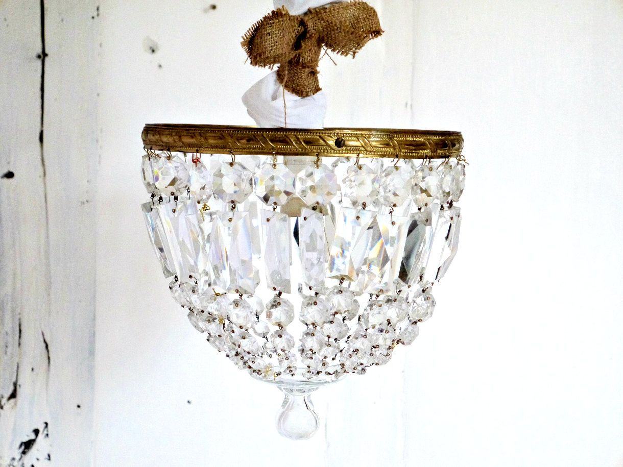 French Vintage chandelier crystal and glass shabby chic Paris apartment elegant by ChicFrangine on Etsy
