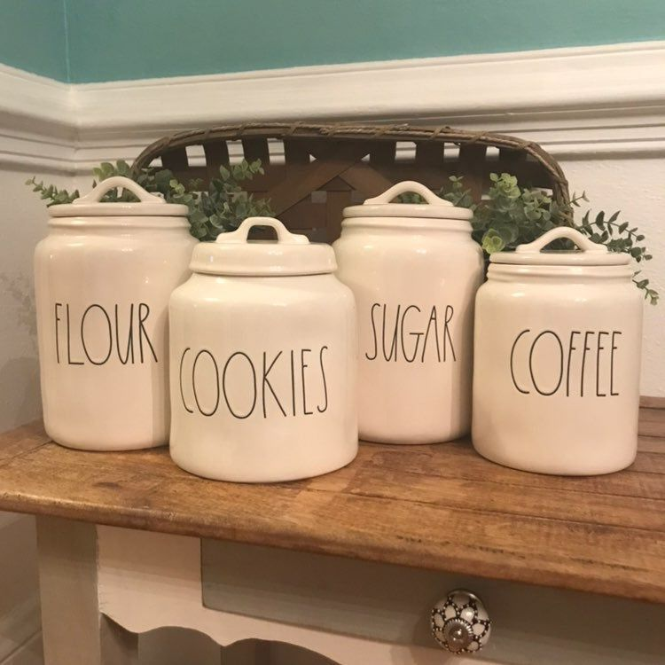 Rae Dunn Large Canister Set Xl Sugar Canister Xl Flour Canister Medium Coffee Canister Cookies Canis Large Canister Sets Sugar Canister Flour Canister