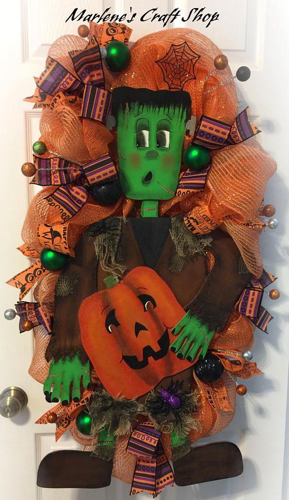 Halloween Wreath, Frankenstein Wreath, Monster Wreath,Halloween