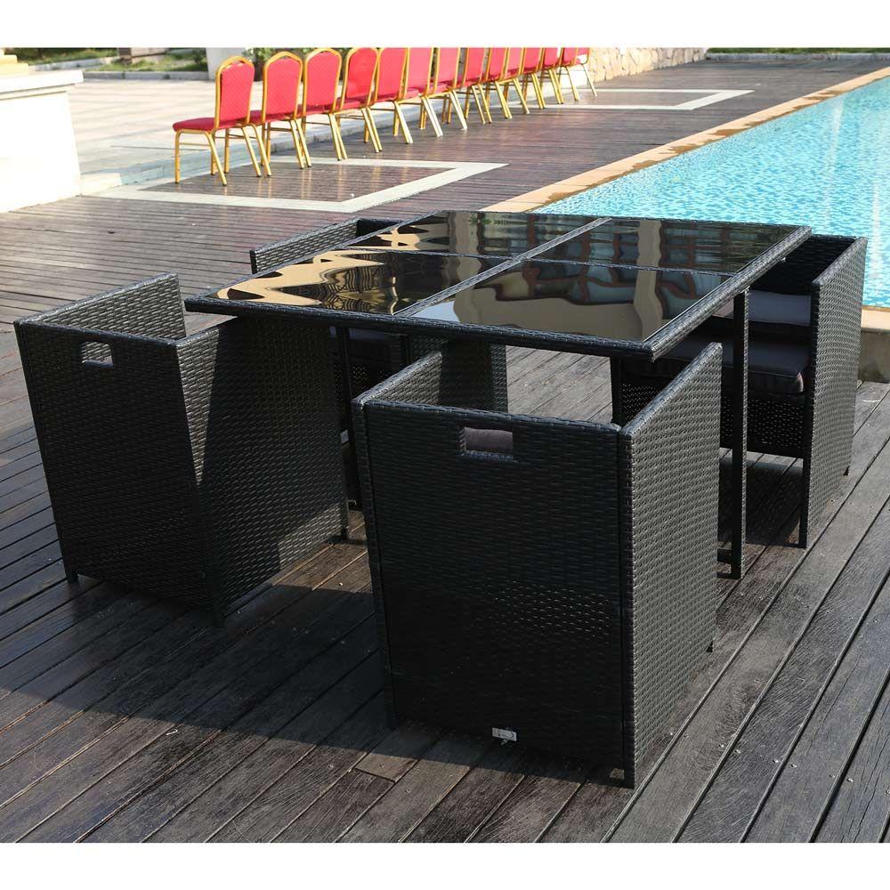 Buy Luxo Dalston 5 Piece Wicker Outdoor Dining Table ...