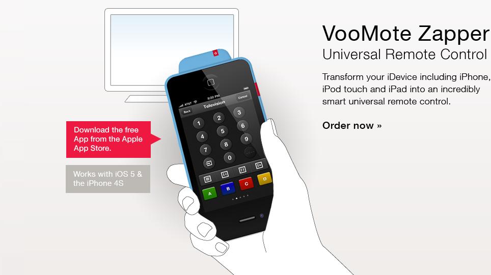 VooMote Zapper Universal remote control, Ipad accessories