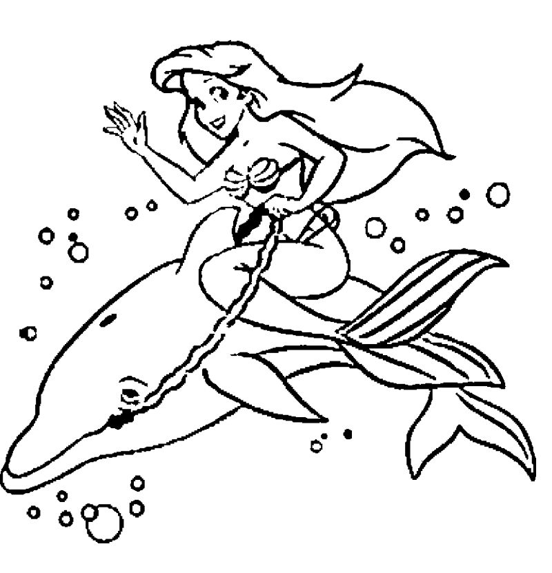 dolphin and mermaid coloring page - Mermaid Coloring Pages For Kids