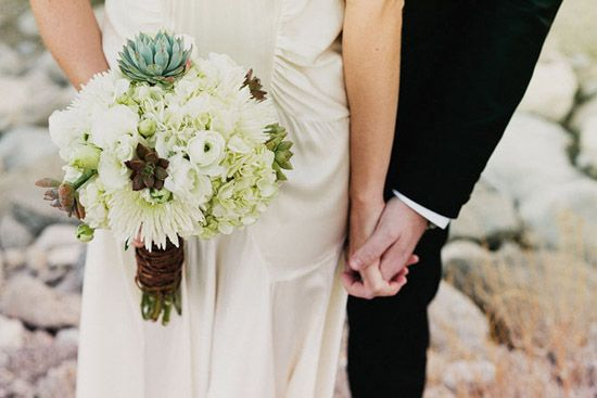 Wedding bouquet made with succulents