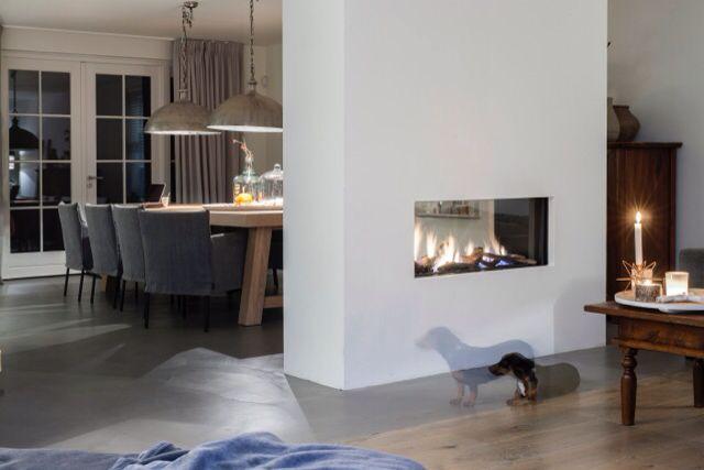 Tunnelhaard als room divider tussen eetkamer en woonkamer diy d co pinterest fire places - Eetkamer deco ...