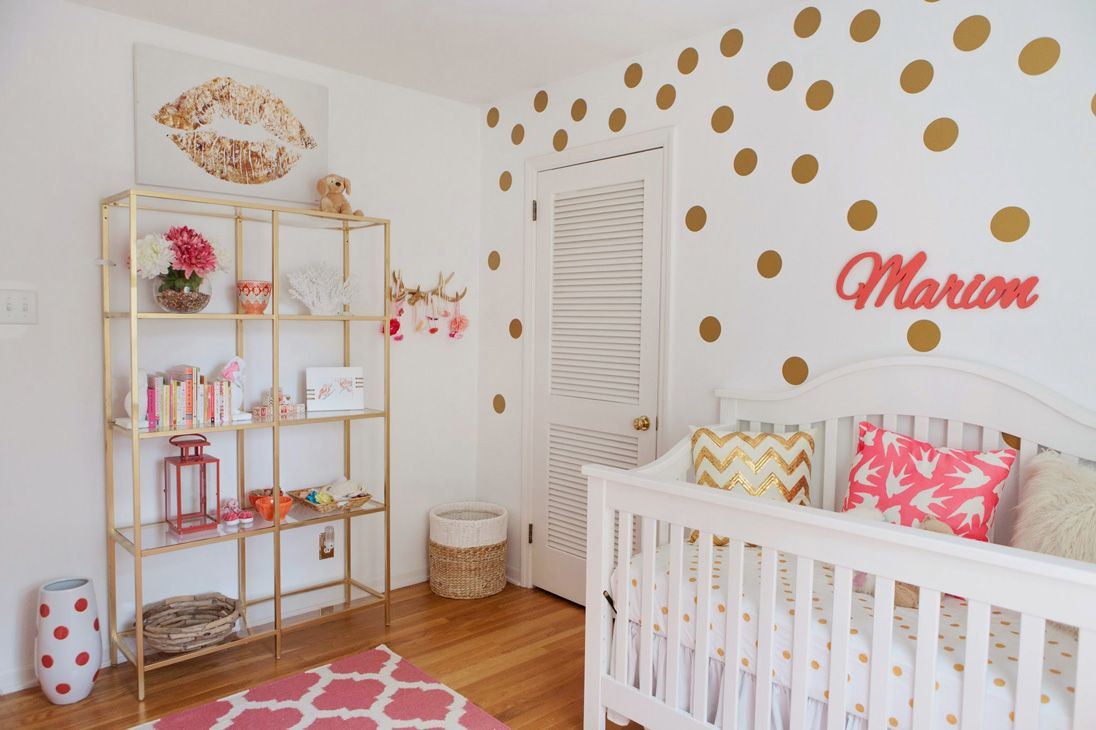 Feminine Nursery in Coral and Gold | habitación bebe | Pinterest ...